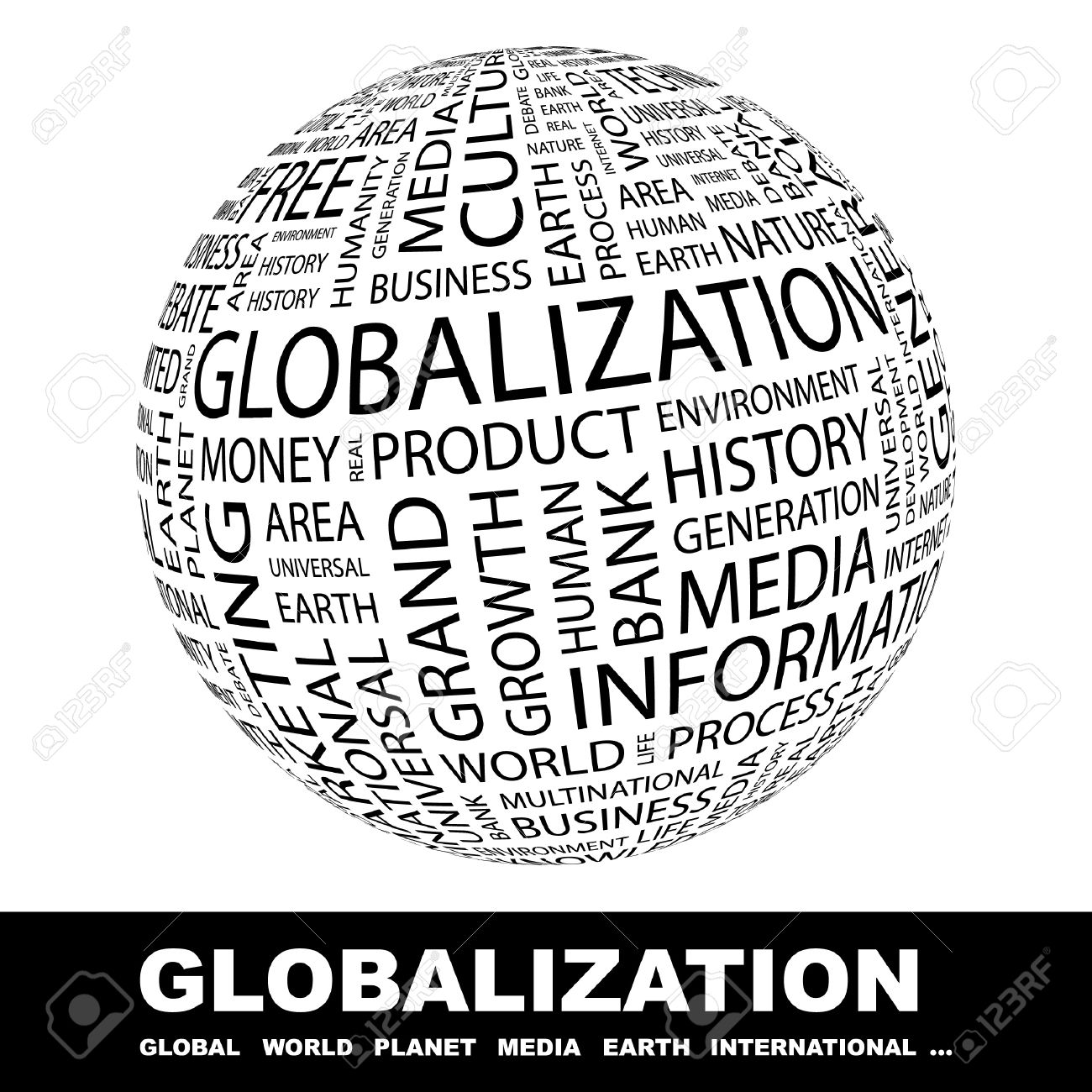 GLOBALIZATION. Globe with different association terms. Wordcloud vector illustration. Stock Vector - 9194547