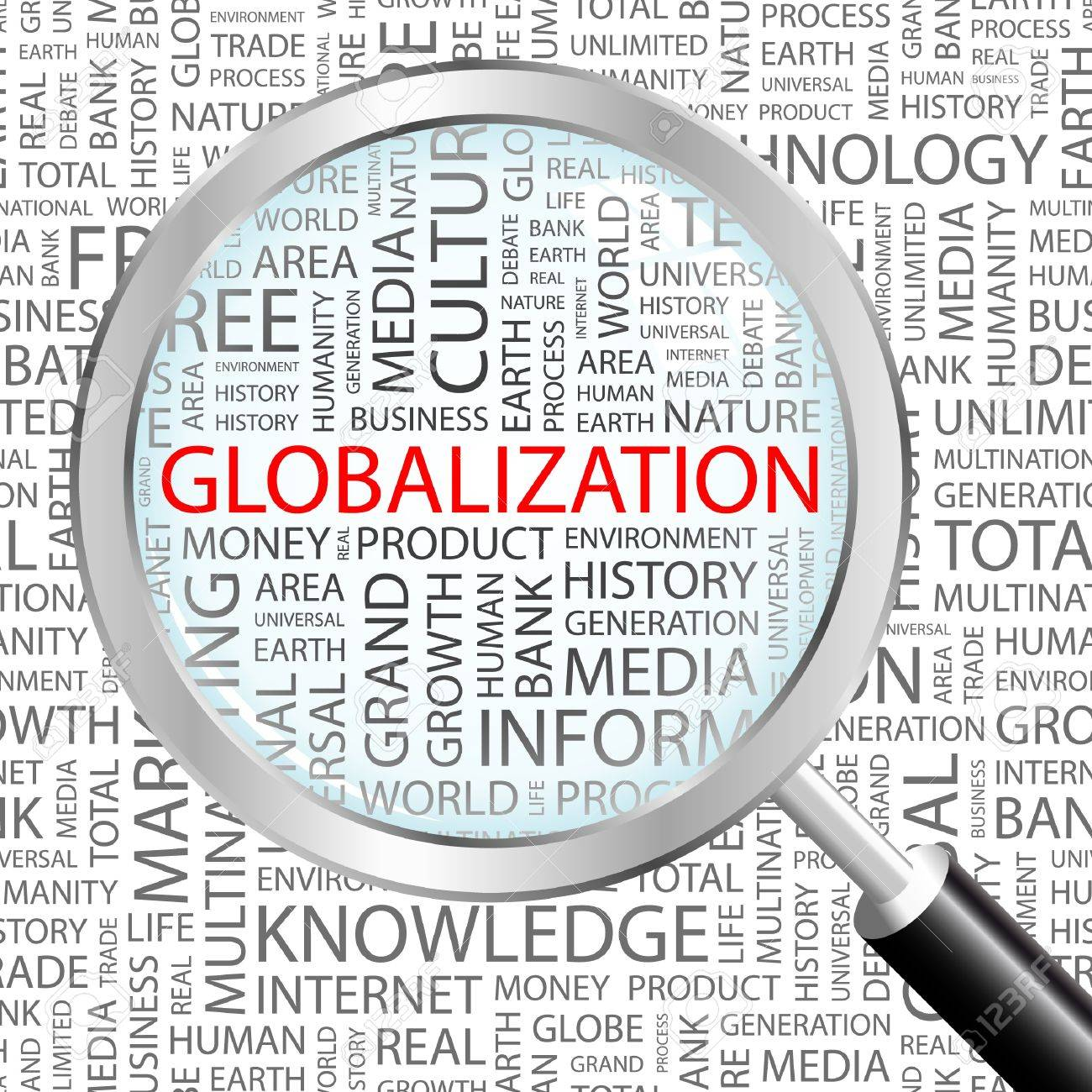 GLOBALIZATION. Magnifying glass over background with different association terms. Vector illustration. Stock Vector - 9033832
