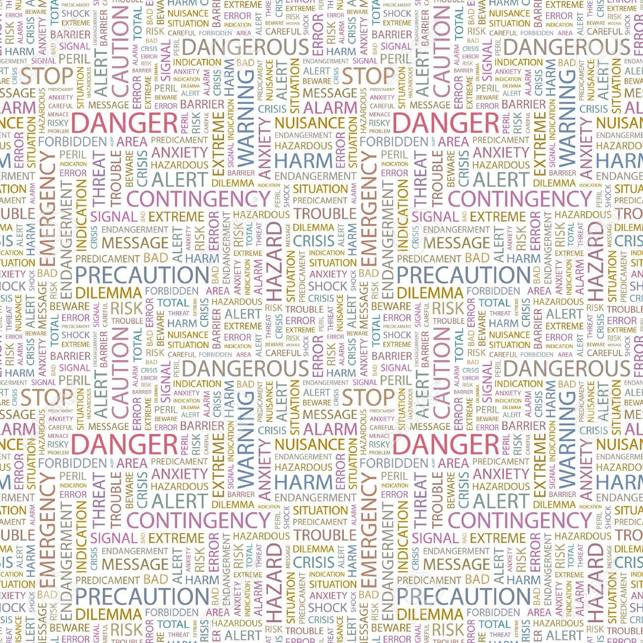 DANGER. Seamless vector pattern with word cloud. Illustration with different association terms. Stock Vector - 9033987