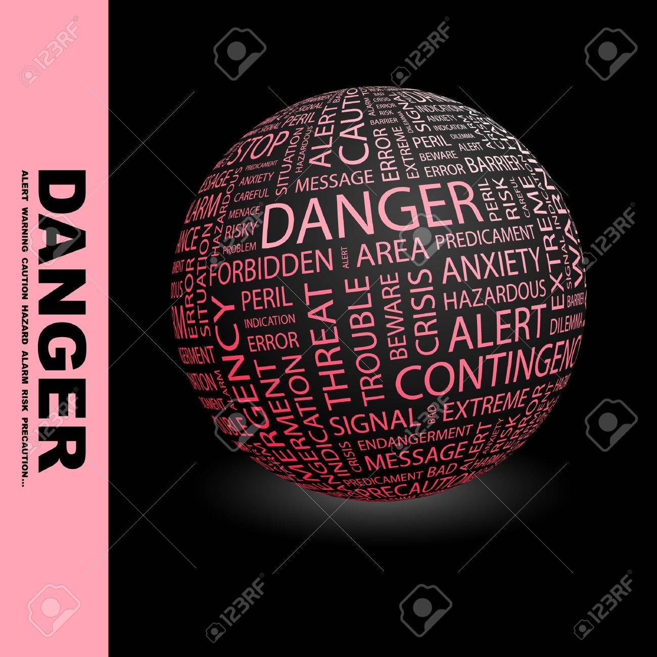 DANGER. Globe with different association terms. Wordcloud vector illustration. Stock Vector - 9194550