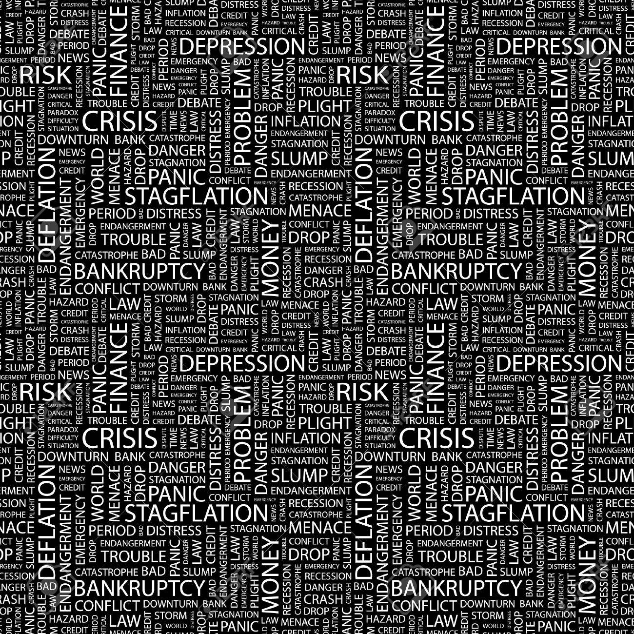 CRISIS. Seamless vector pattern with word cloud. Illustration with different association terms. Stock Vector - 9033988
