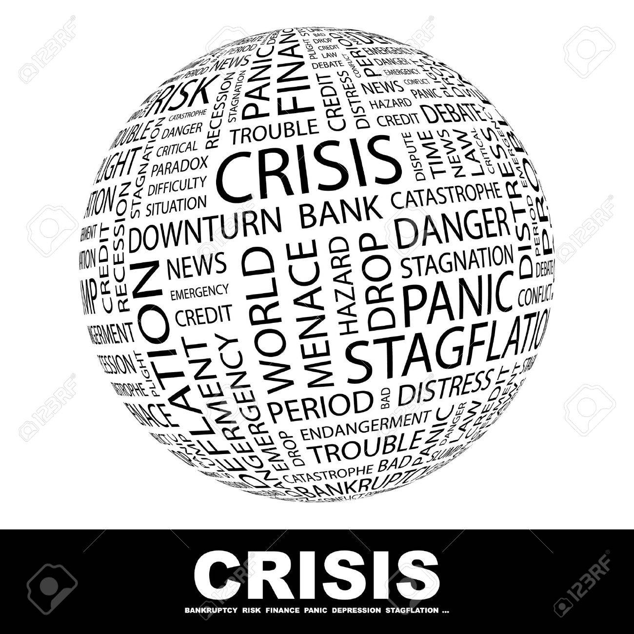 CRISIS. Globe with different association terms. Wordcloud vector illustration. Stock Vector - 9129618