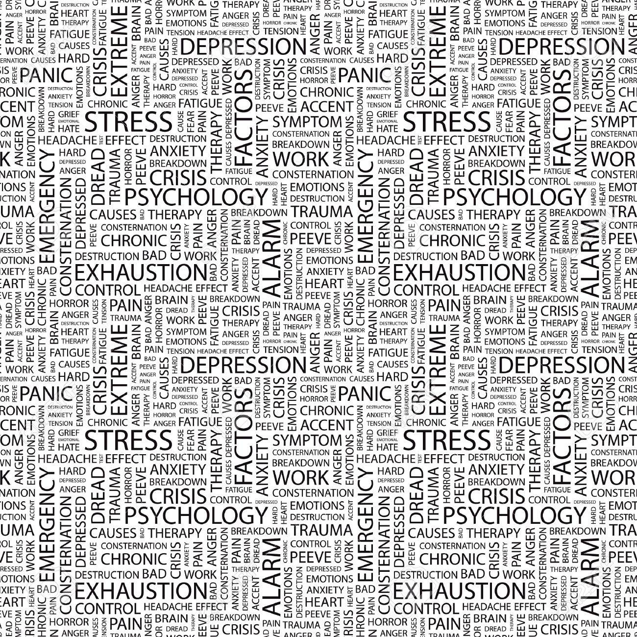 STRESS. Seamless vector pattern with word cloud. Illustration with different association terms. Stock Vector - 9034069