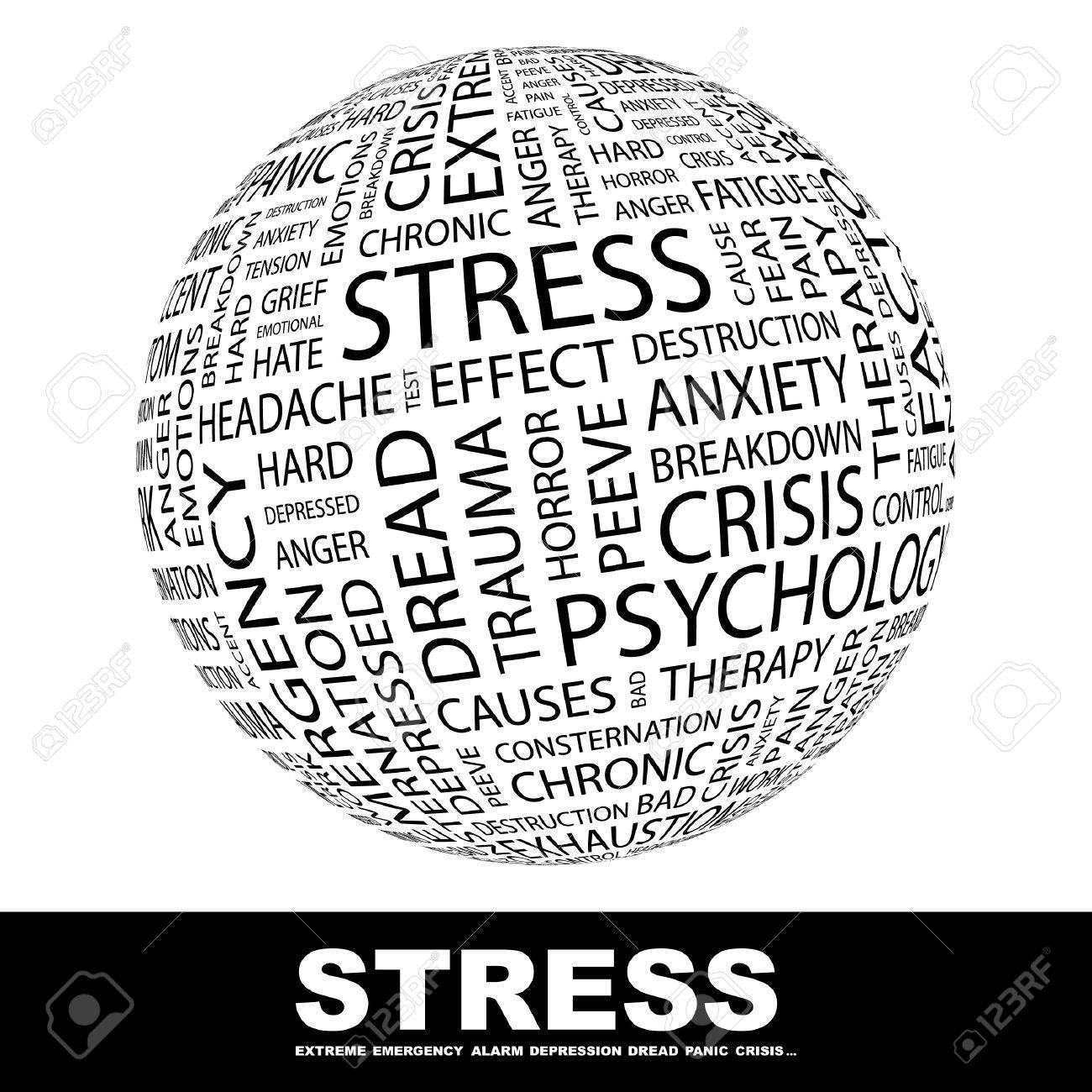 STRESS. Globe with different association terms. Wordcloud vector illustration. Stock Vector - 9129840