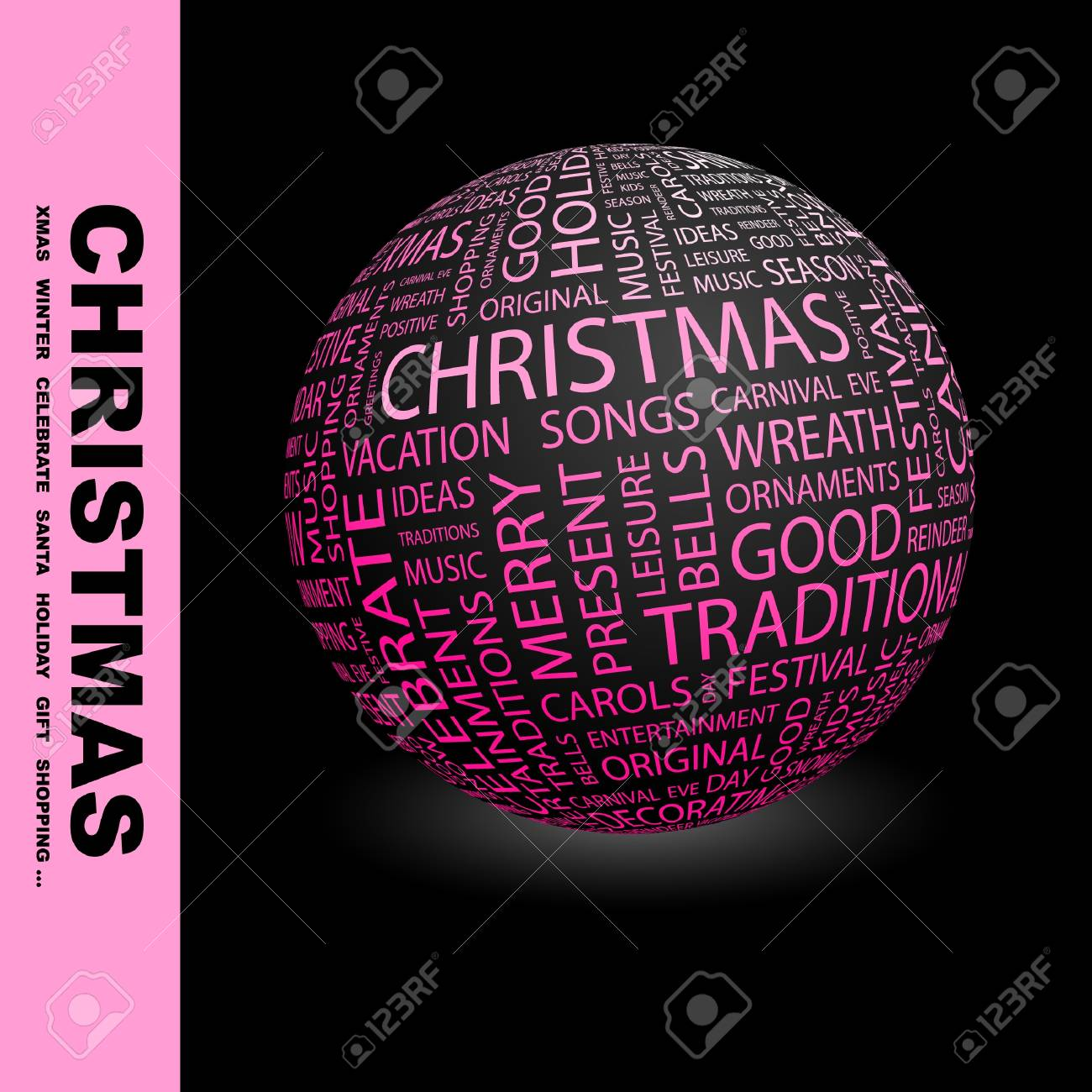 CHRISTMAS. Globe with different association terms. Wordcloud vector illustration. Stock Vector - 9034033