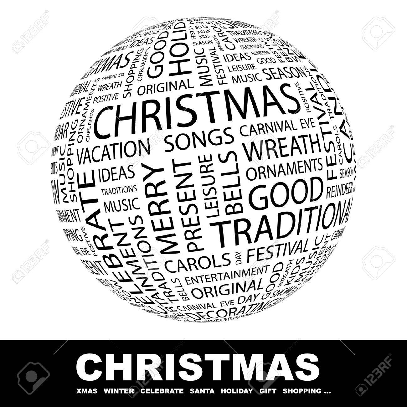 CHRISTMAS. Globe with different association terms. Wordcloud vector illustration. Stock Vector - 8840363