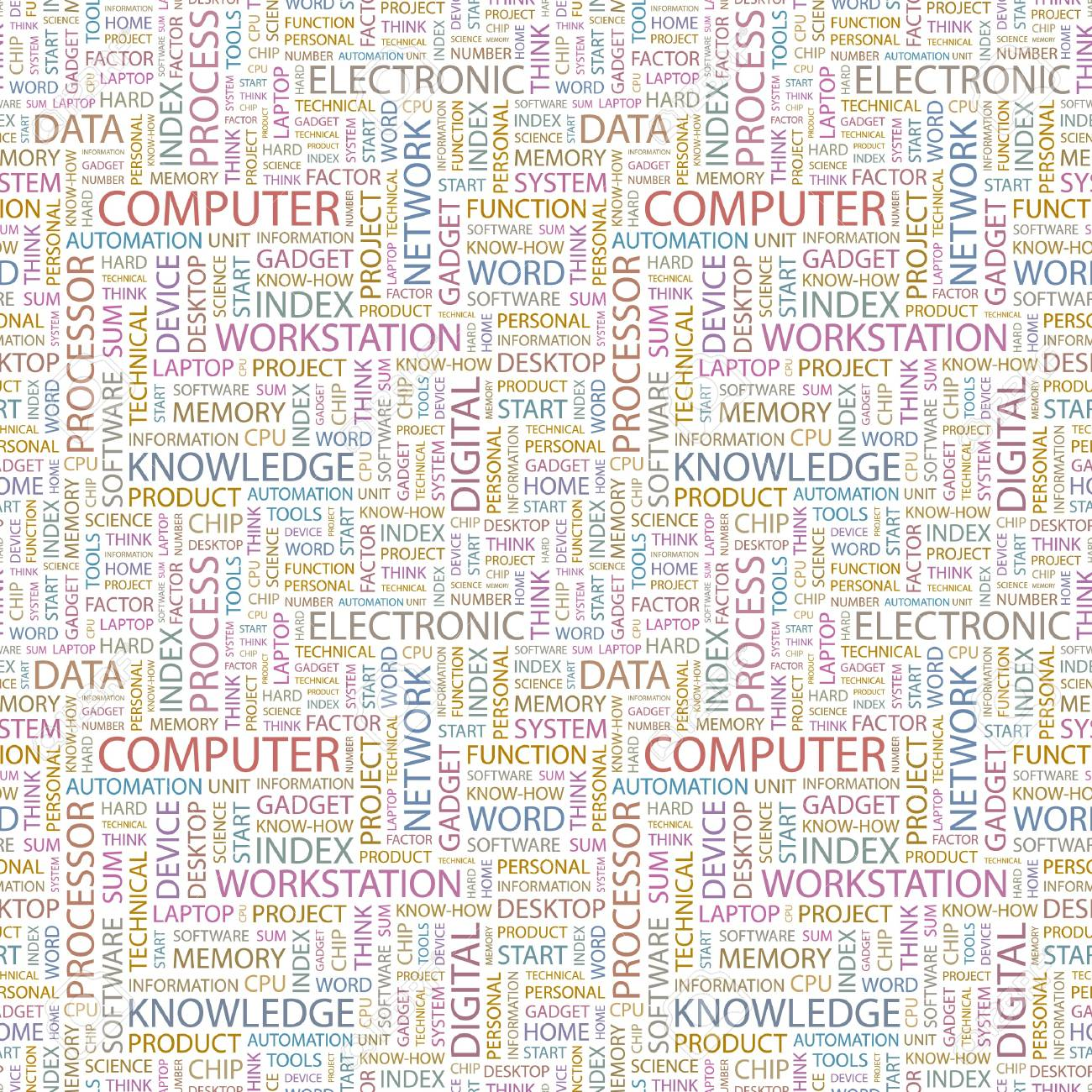 COMPUTER  Seamless vector pattern with word cloud  Illustration