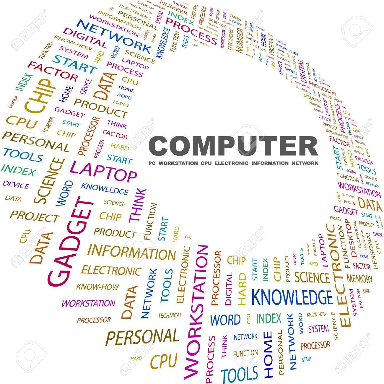 COMPUTER Word Collage On White Background Vector Illustration With Different Association Terms