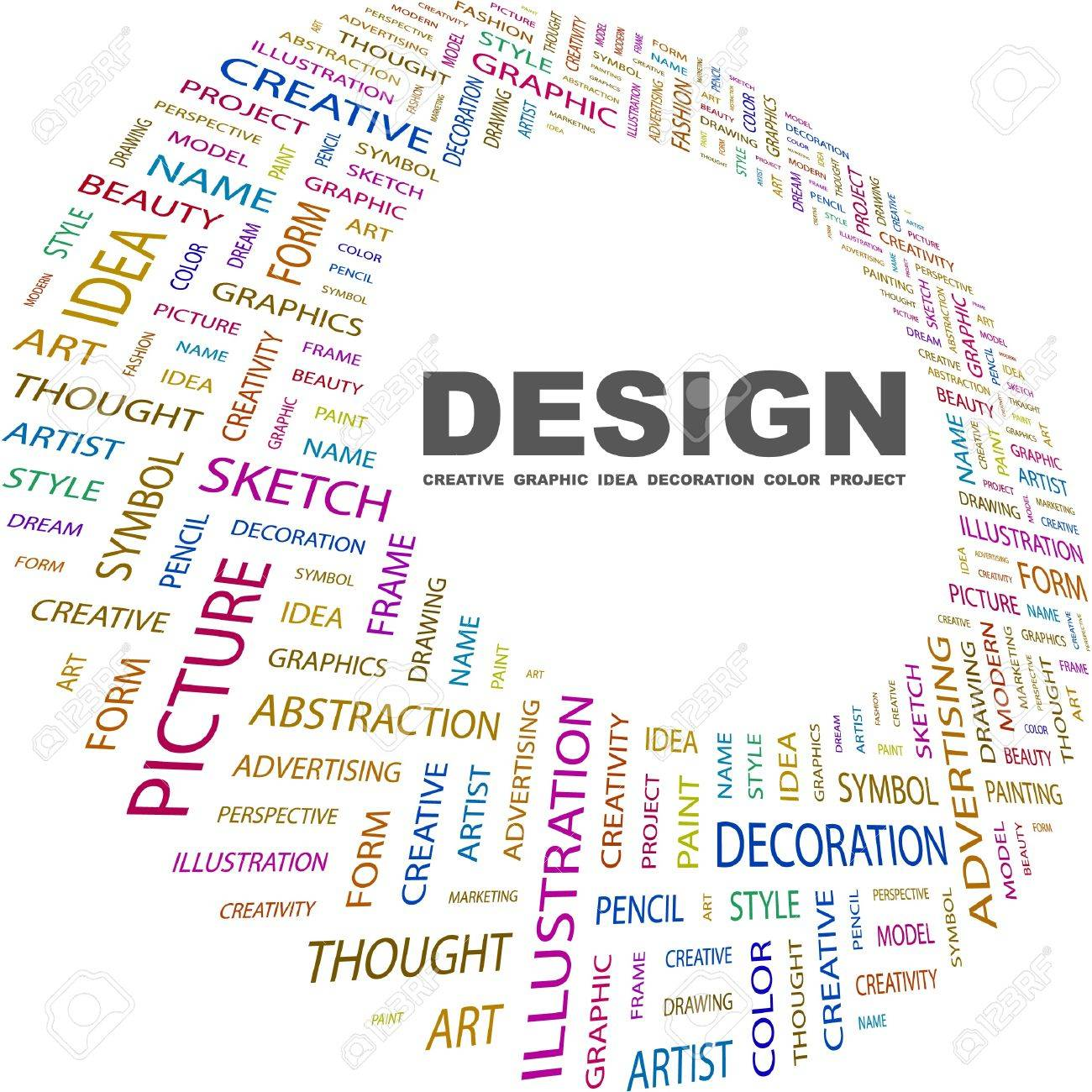 DESIGN. Word collage on white background. Vector illustration. Illustration with different association terms. Standard-Bild - 8840333