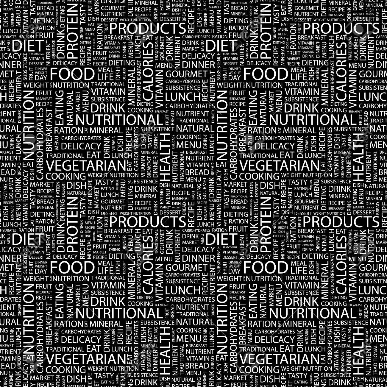 FOOD. Seamless vector pattern with word cloud. Illustration with different association terms. Stock Vector - 9027812