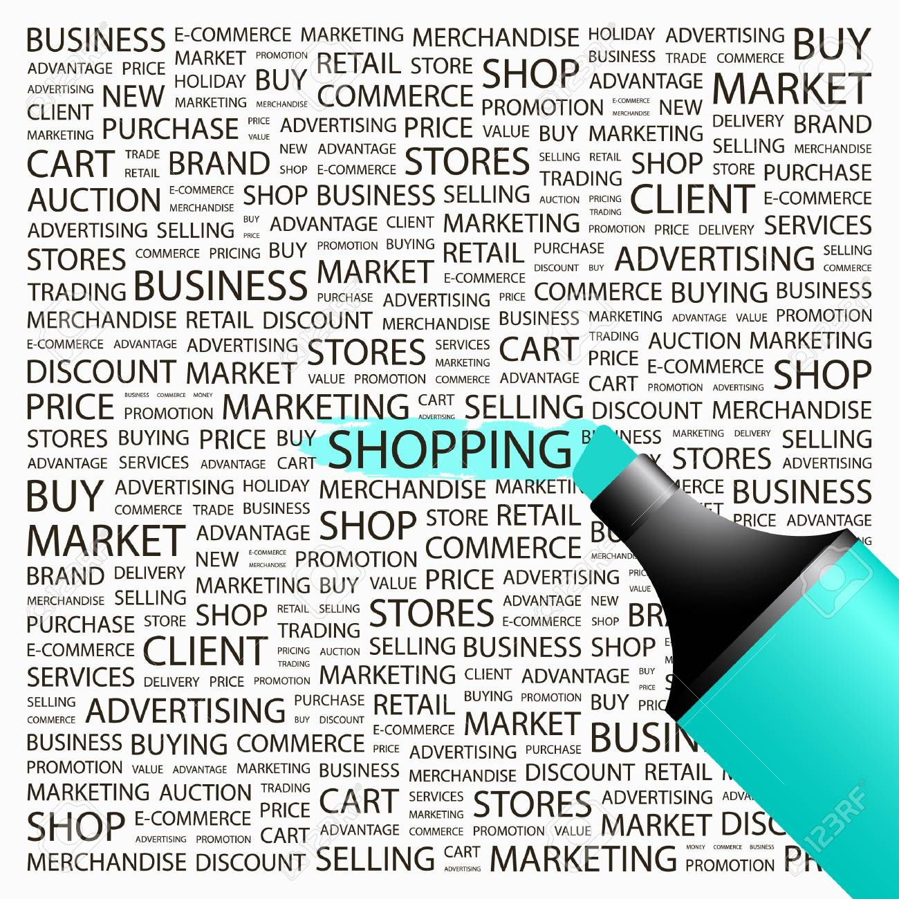 SHOPPING. Highlighter over background with different association terms. Vector illustration. Stock Vector - 8840348