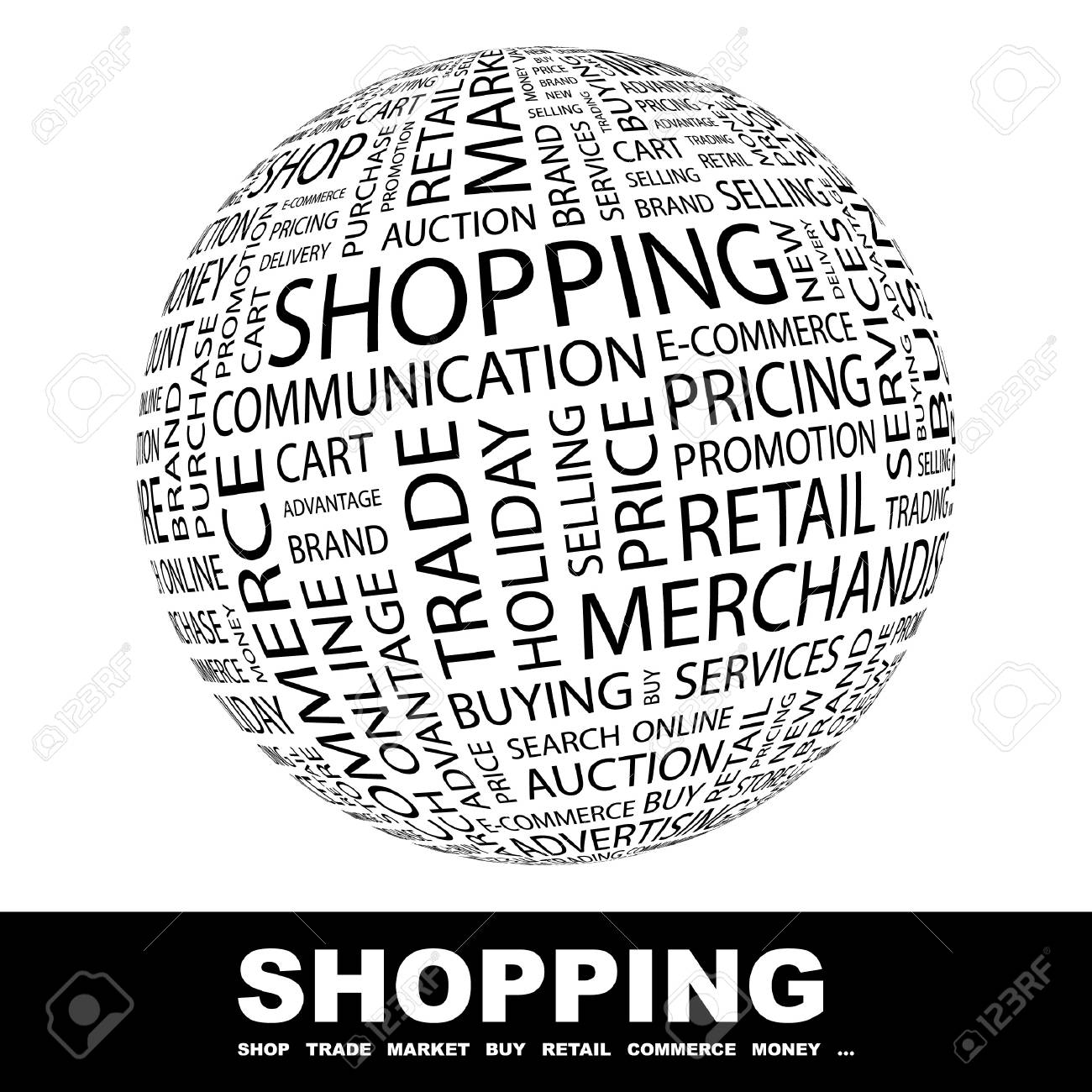 SHOPPING. Globe with different association terms. Wordcloud vector illustration. Stock Vector - 8840353