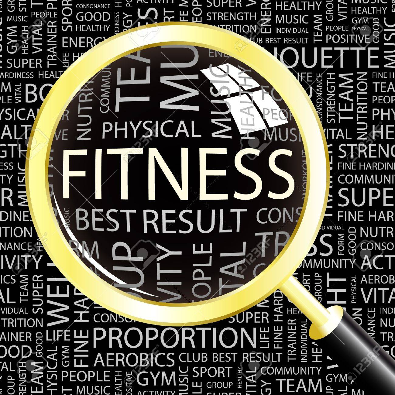FITNESS. Magnifying glass over background with different association terms. Vector illustration. Stock Vector - 9027394