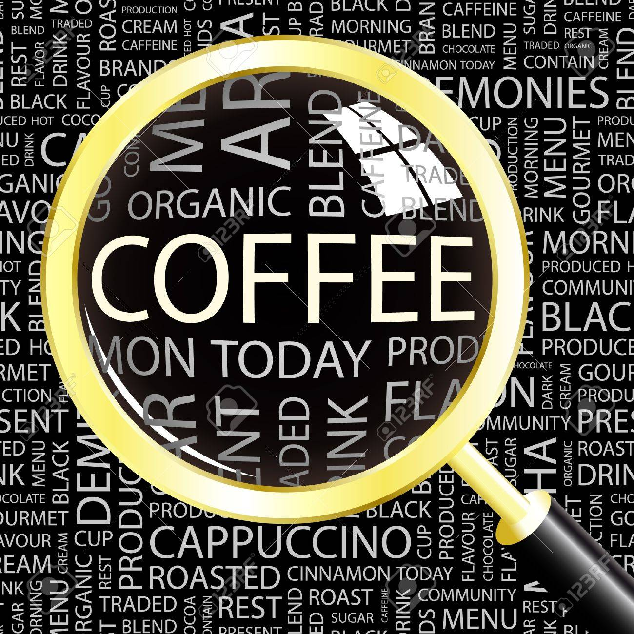 COFFEE. Magnifying glass over background with different association terms. Vector illustration. Stock Vector - 9027396