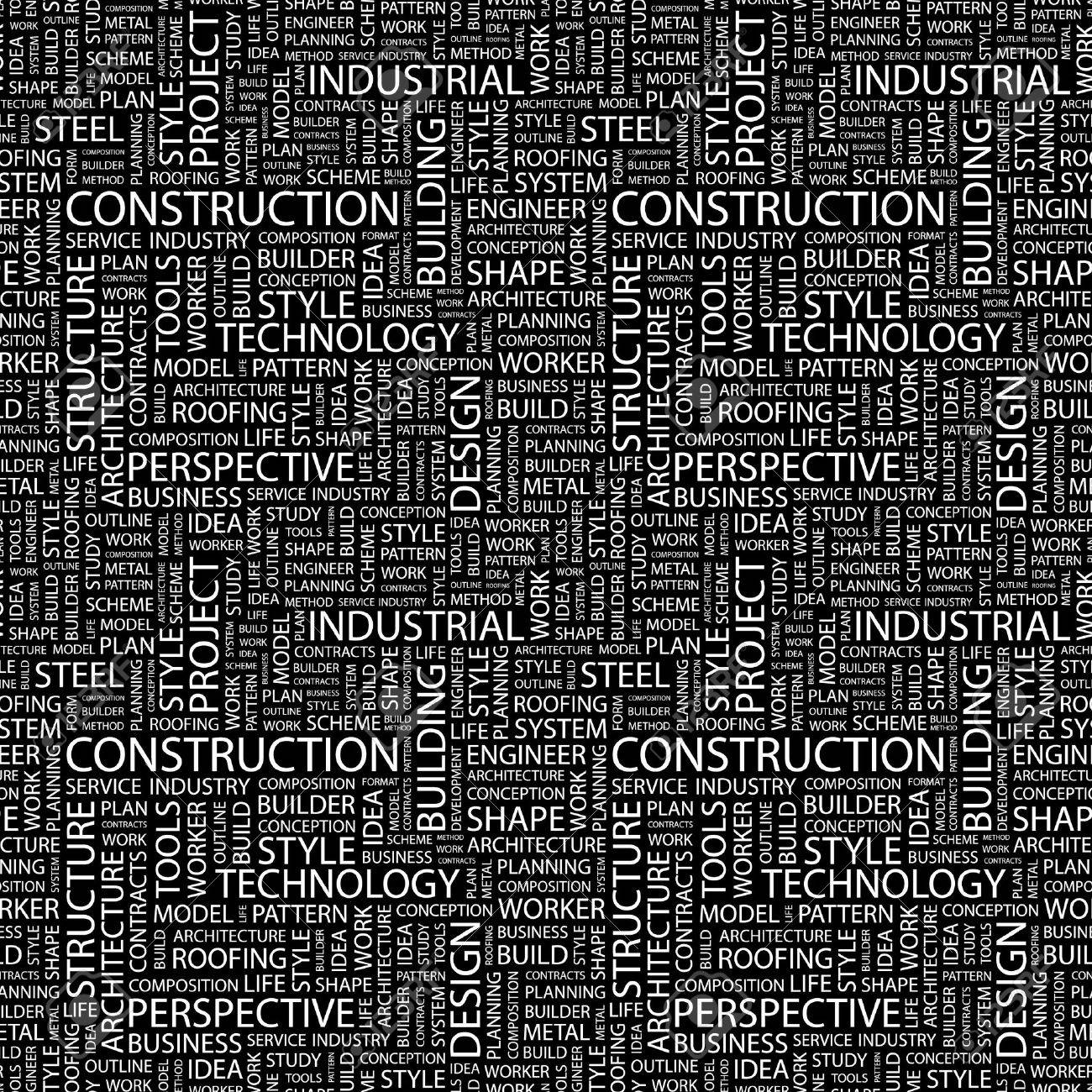 CONSTRUCTION. Seamless vector pattern with word cloud. Illustration with different association terms. Stock Vector - 9130667