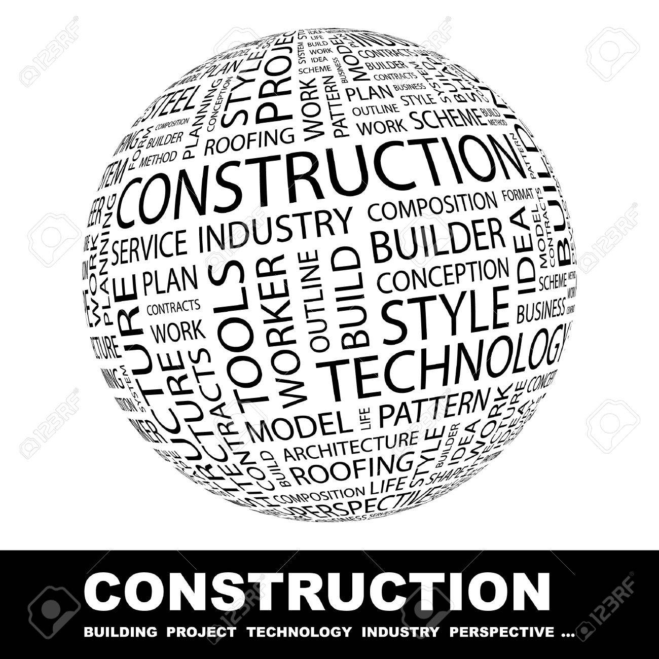 CONSTRUCTION. Globe with different association terms. Wordcloud vector illustration. Stock Vector - 9026577