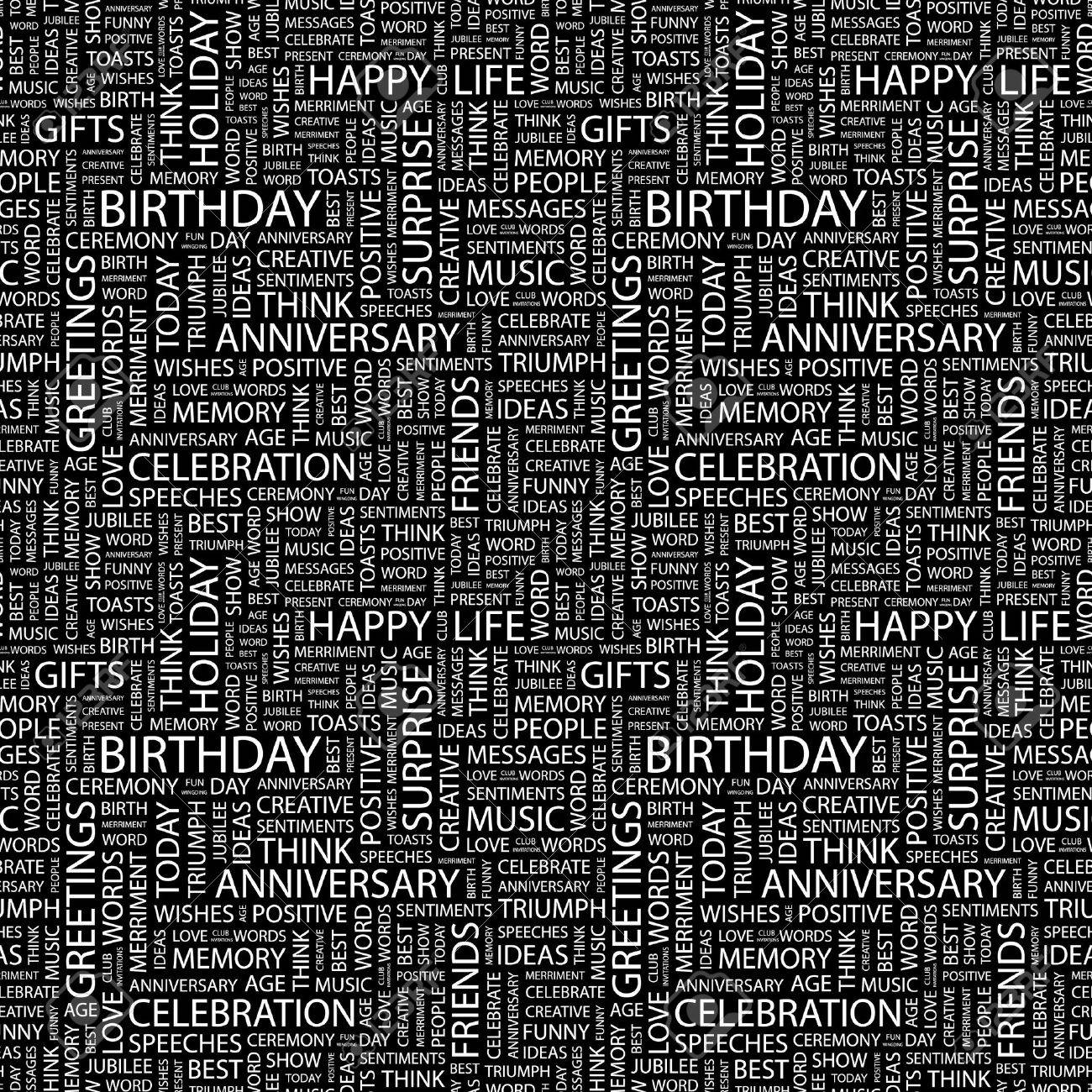 BIRTHDAY. Seamless vector pattern with word cloud. Illustration with different association terms. Stock Vector - 9026584