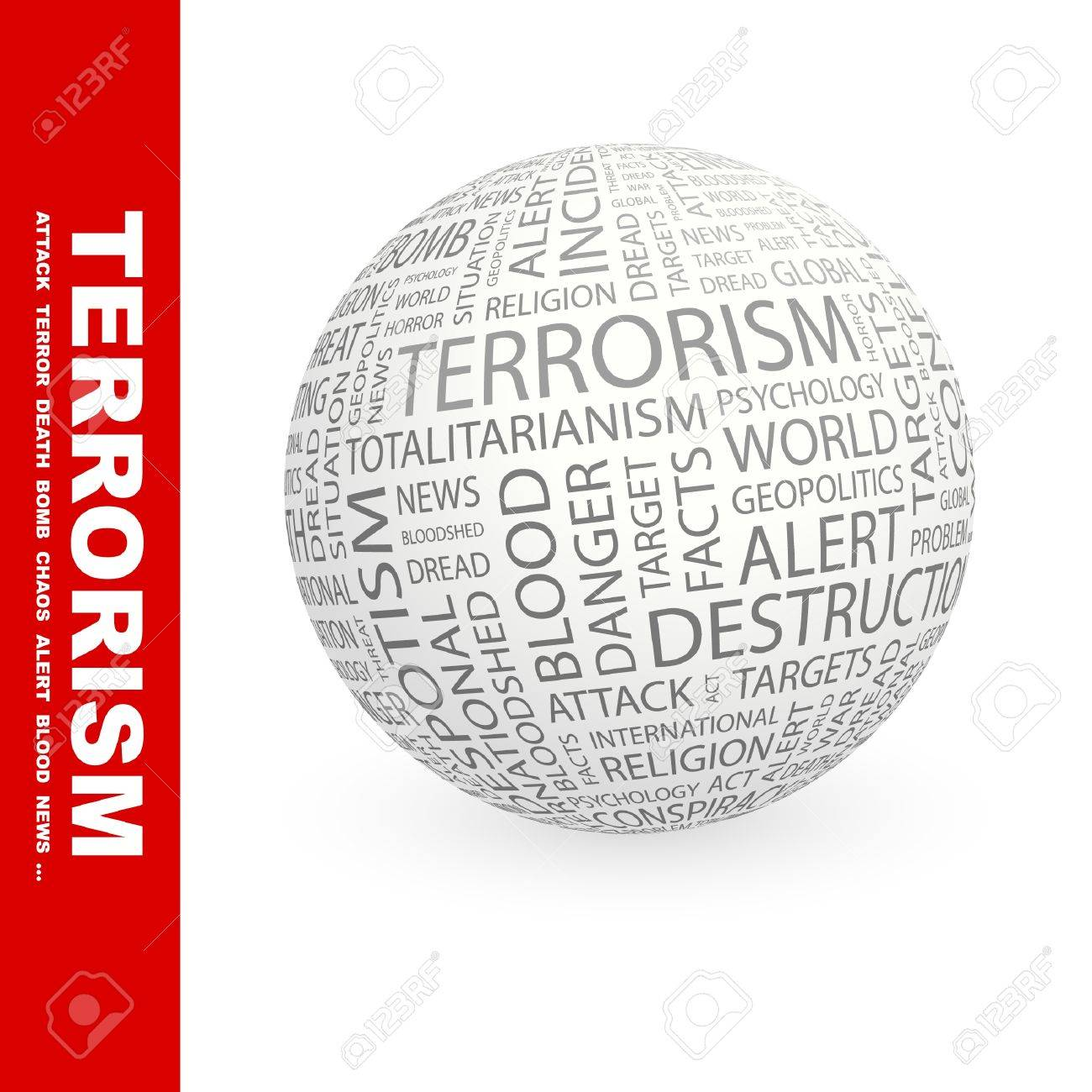 TERRORISM. Globe with different association terms. Wordcloud vector illustration. Stock Vector - 9194708