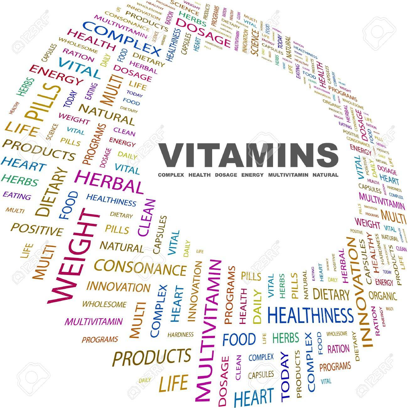 VITAMINS. Word collage on white background. Vector illustration. Illustration with different association terms. Stock Vector - 9026251