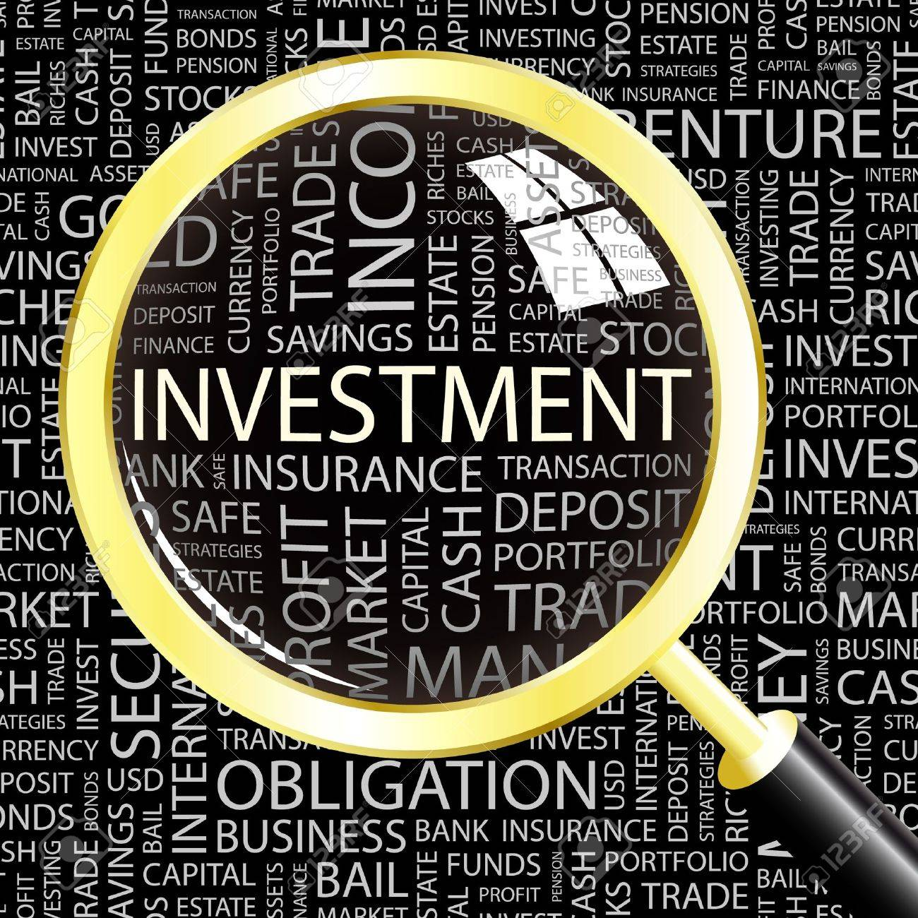 INVESTMENT. Magnifying glass over background with different association terms. Vector illustration. - 9131097