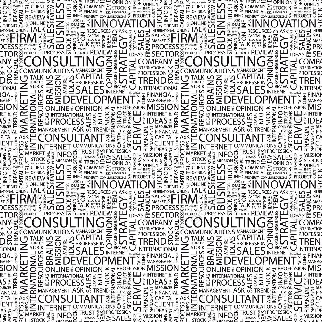 CONSULTING. Seamless vector pattern with word cloud. Illustration with different association terms. Stock Vector - 9131199