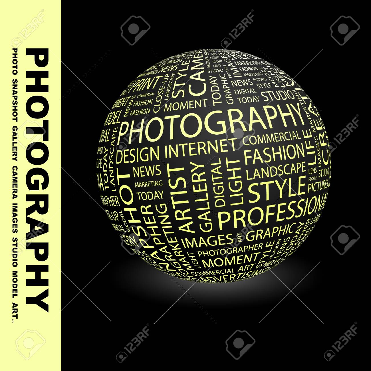 PHOTOGRAPHY. Globe with different association terms. Wordcloud vector illustration. Stock Vector - 9131115