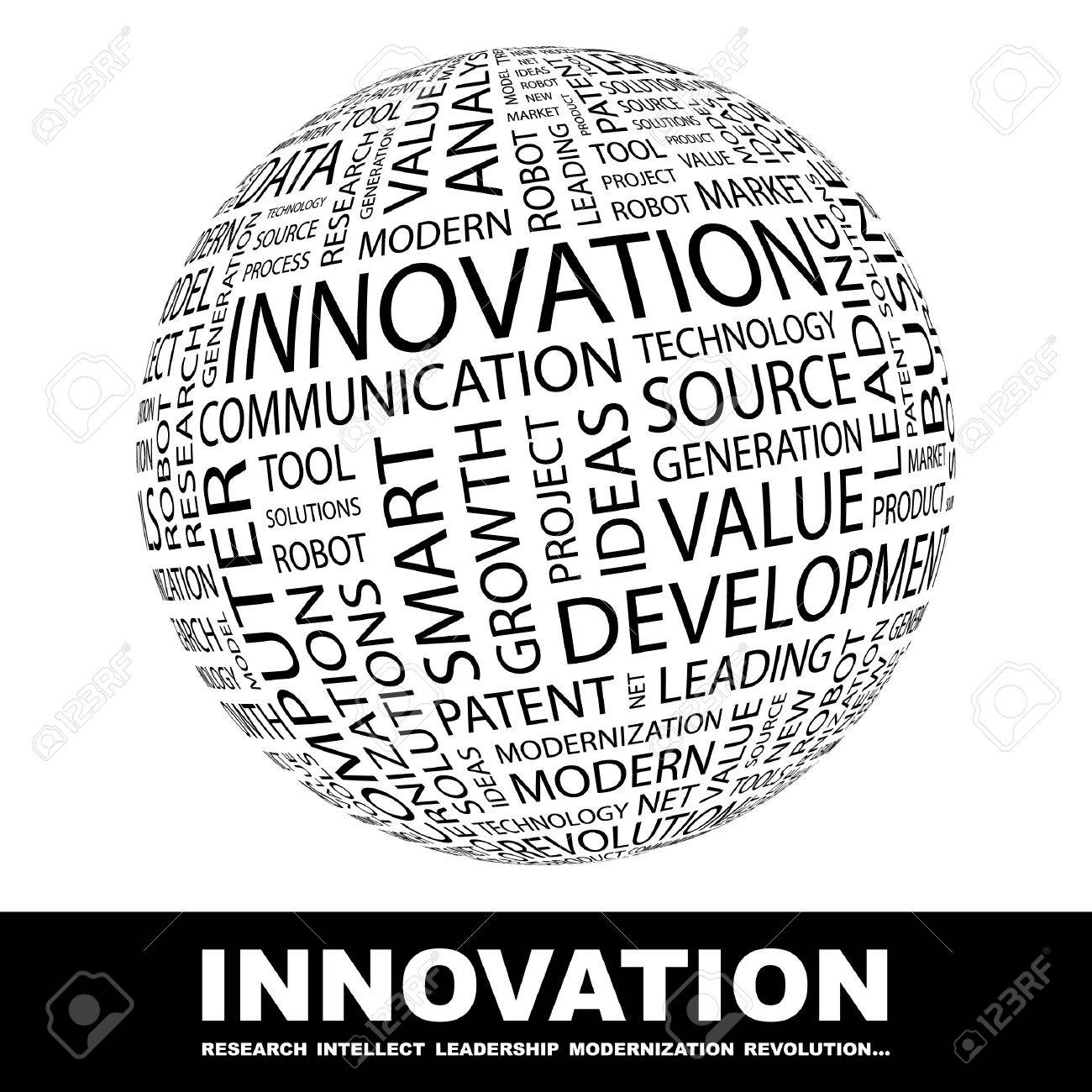 INNOVATION. Globe with different association terms. Wordcloud vector illustration. Stock Vector - 9131106