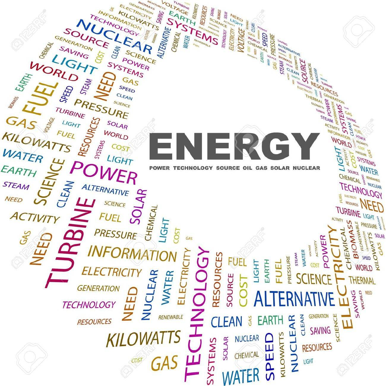ENERGY. Word collage on white background. Vector illustration. Illustration with different association terms. Stock Vector - 9025950