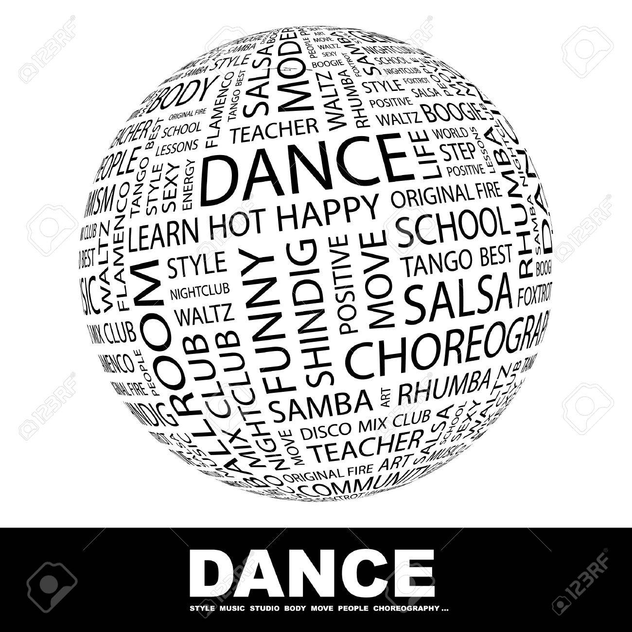 DANCE. Globe with different association terms. Wordcloud vector illustration. Stock Vector - 9131102