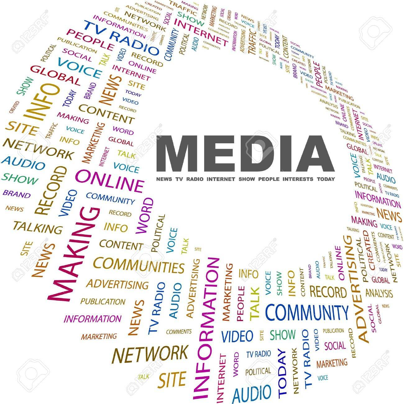 MEDIA. Word collage on white background. Vector illustration. Illustration with different association terms. Stock Vector - 9131099