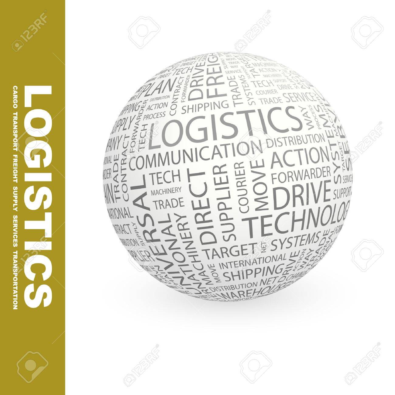 LOGISTICS. Globe with different association terms. Wordcloud vector illustration. Stock Vector - 9025710