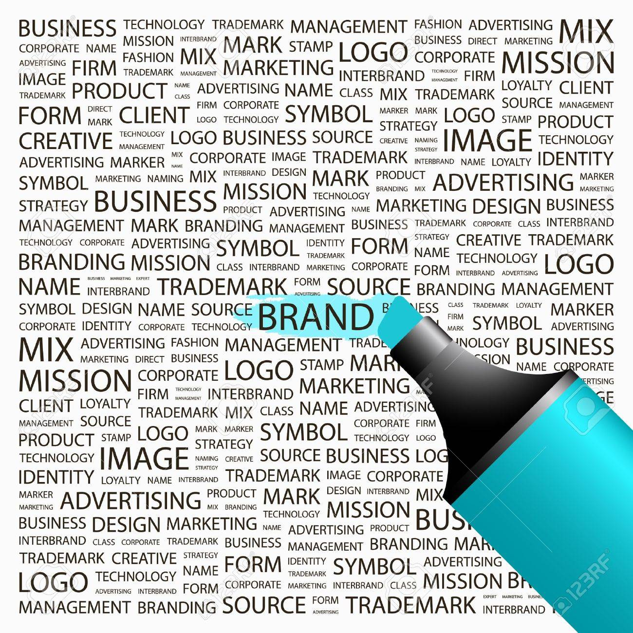 BRAND. Highlighter over background with different association terms. Vector illustration. Stock Vector - 9025708