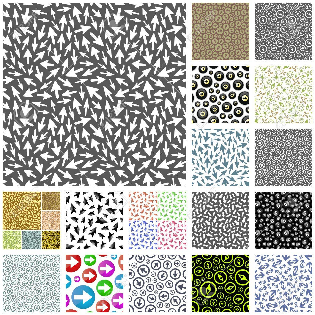 Seamless background with different arrows. Great collection. Stock Vector - 8890785