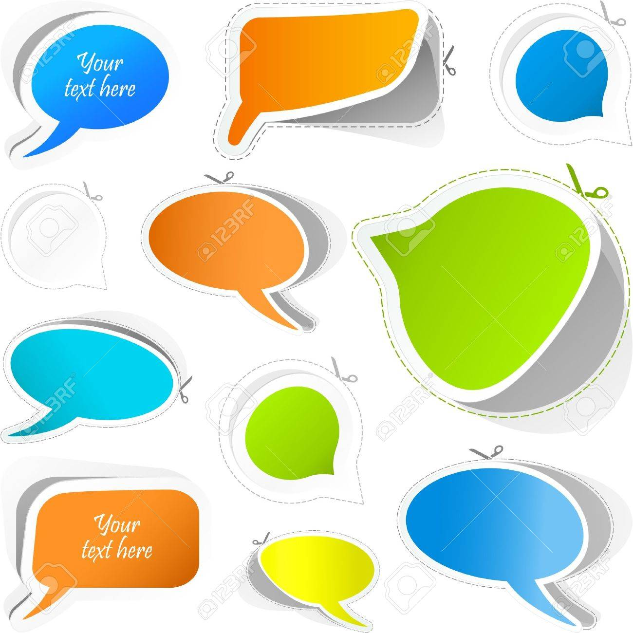 Vector speech bubble. Sticker set. Stock Vector - 8890721