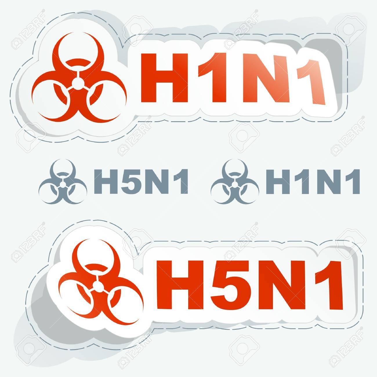 H1N1. H5N1. Warning sticker collection. Stock Vector - 9142345