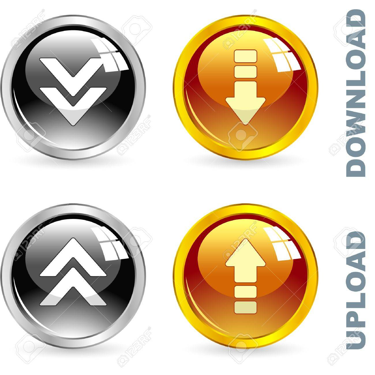 Download and upload button set. Stock Vector - 8890978