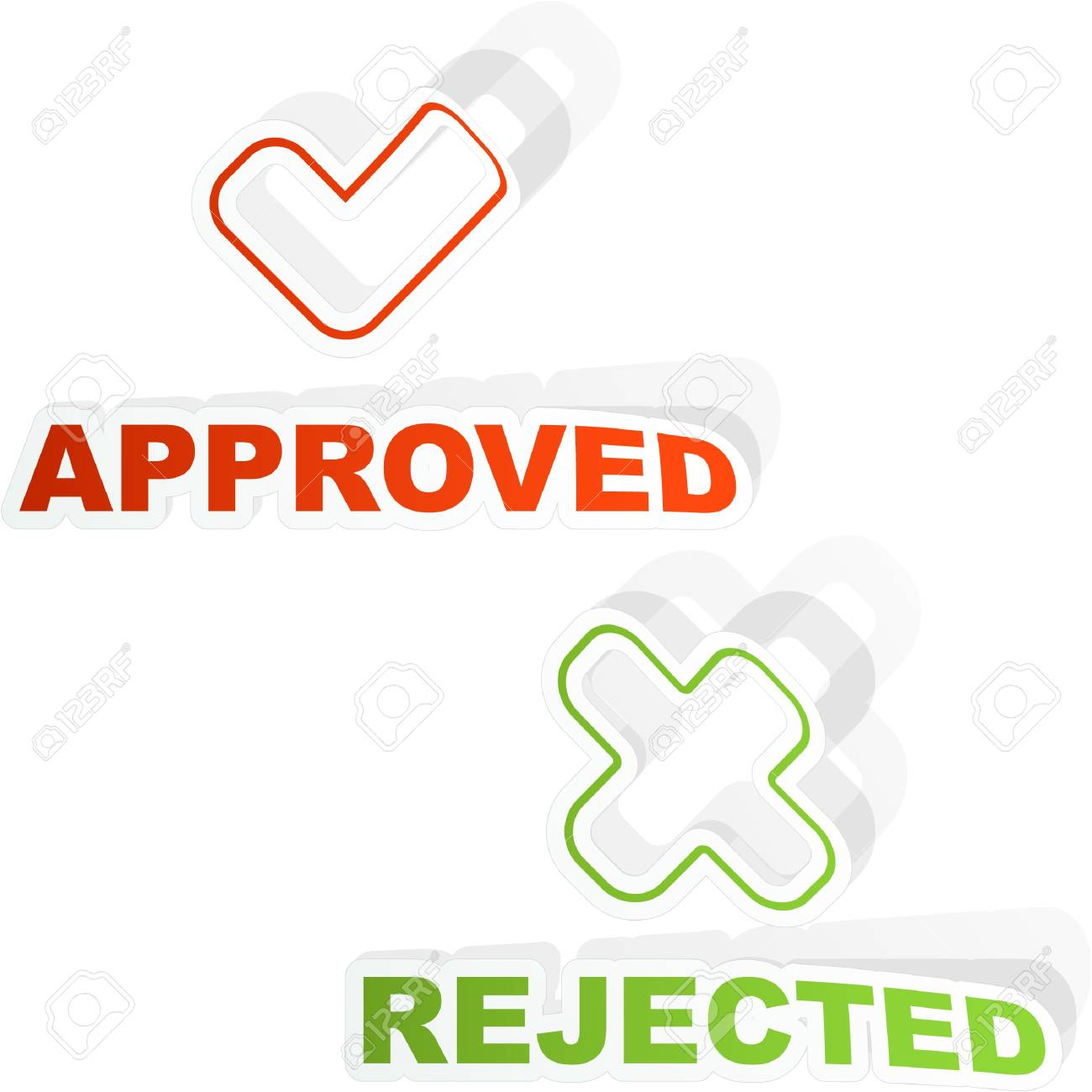 Approved and rejected sticker set. Stock Vector - 8890941