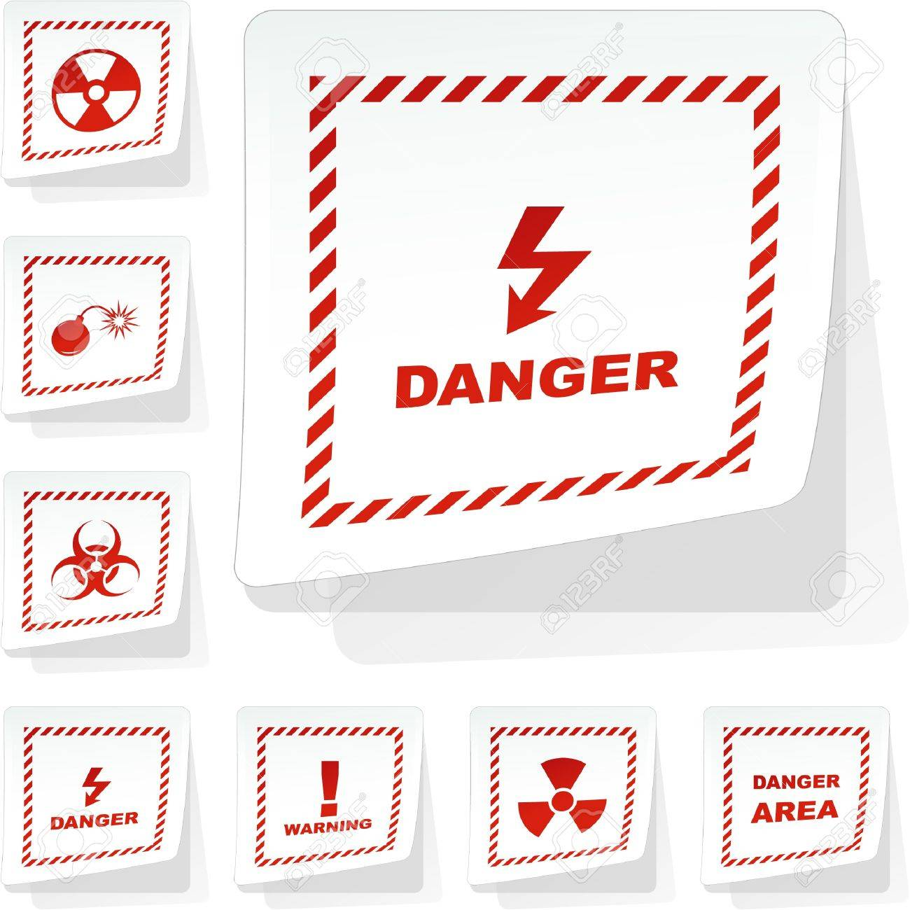 Warning vector stickers. Stock Vector - 8891049
