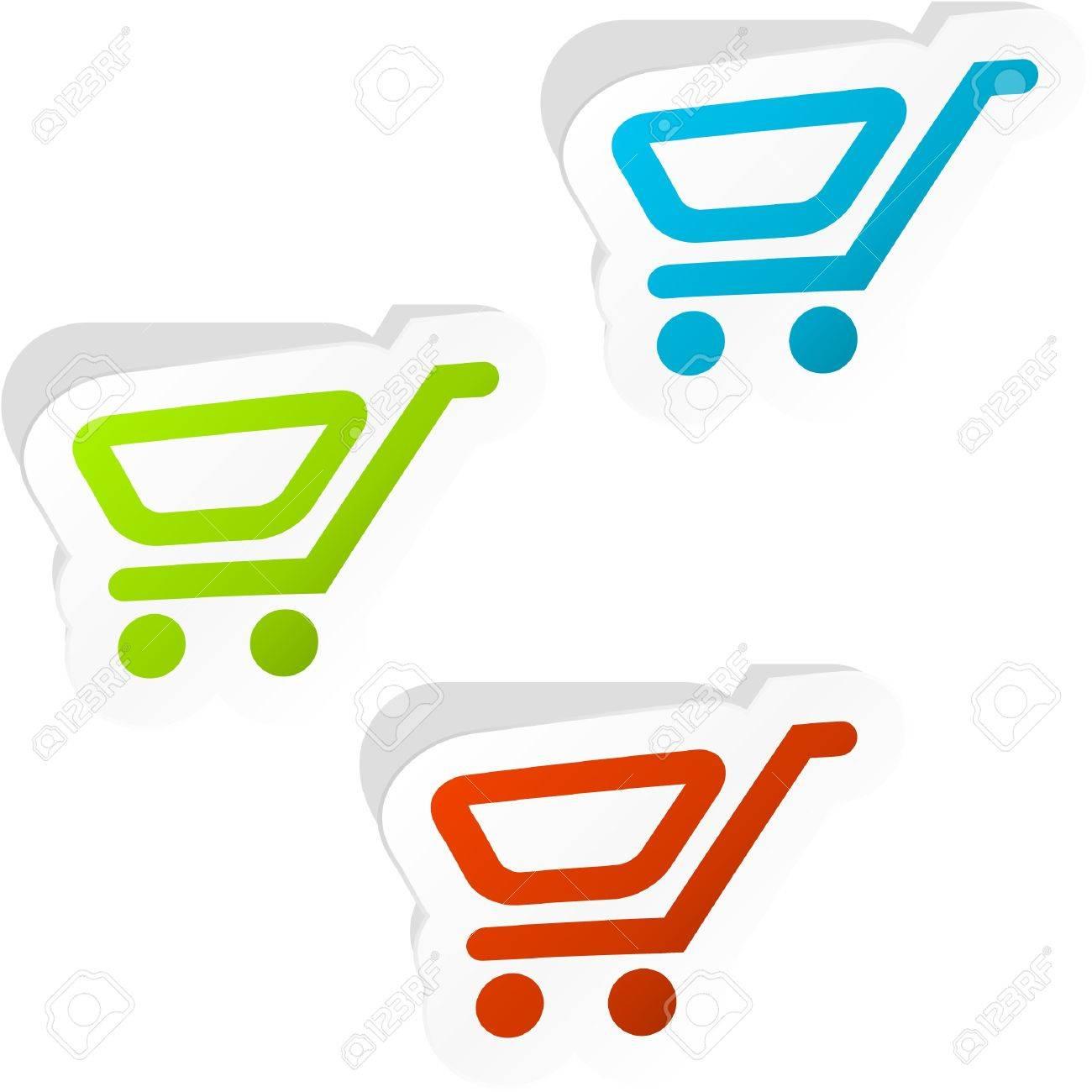 Shopping cart. Sticker set. Stock Vector - 9040017