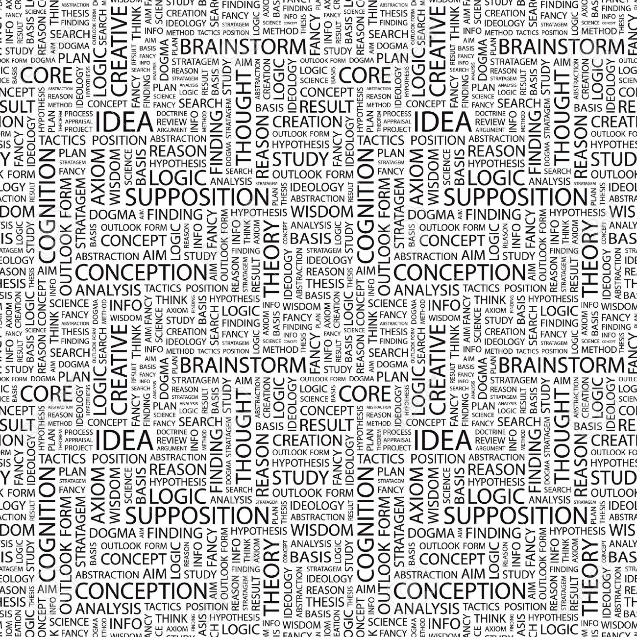 IDEA. Seamless Vector Pattern With Word Cloud. Illustration With ...