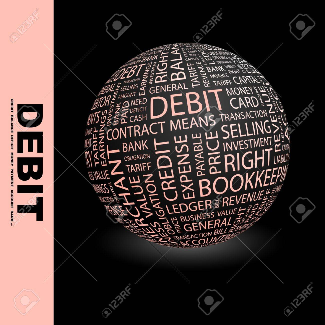 DEBIT. Globe with different association terms. Wordcloud vector illustration. Stock Vector - 8946376