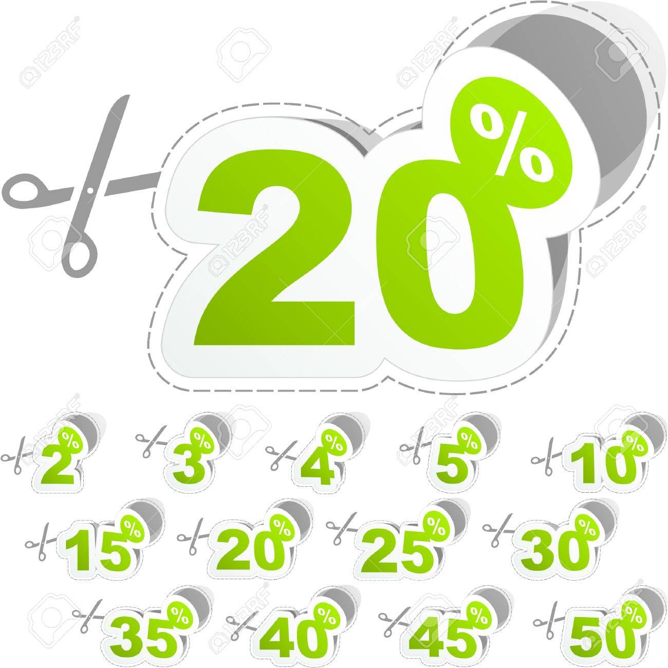 Discount sticker templates with different percentages Stock Vector - 9039230