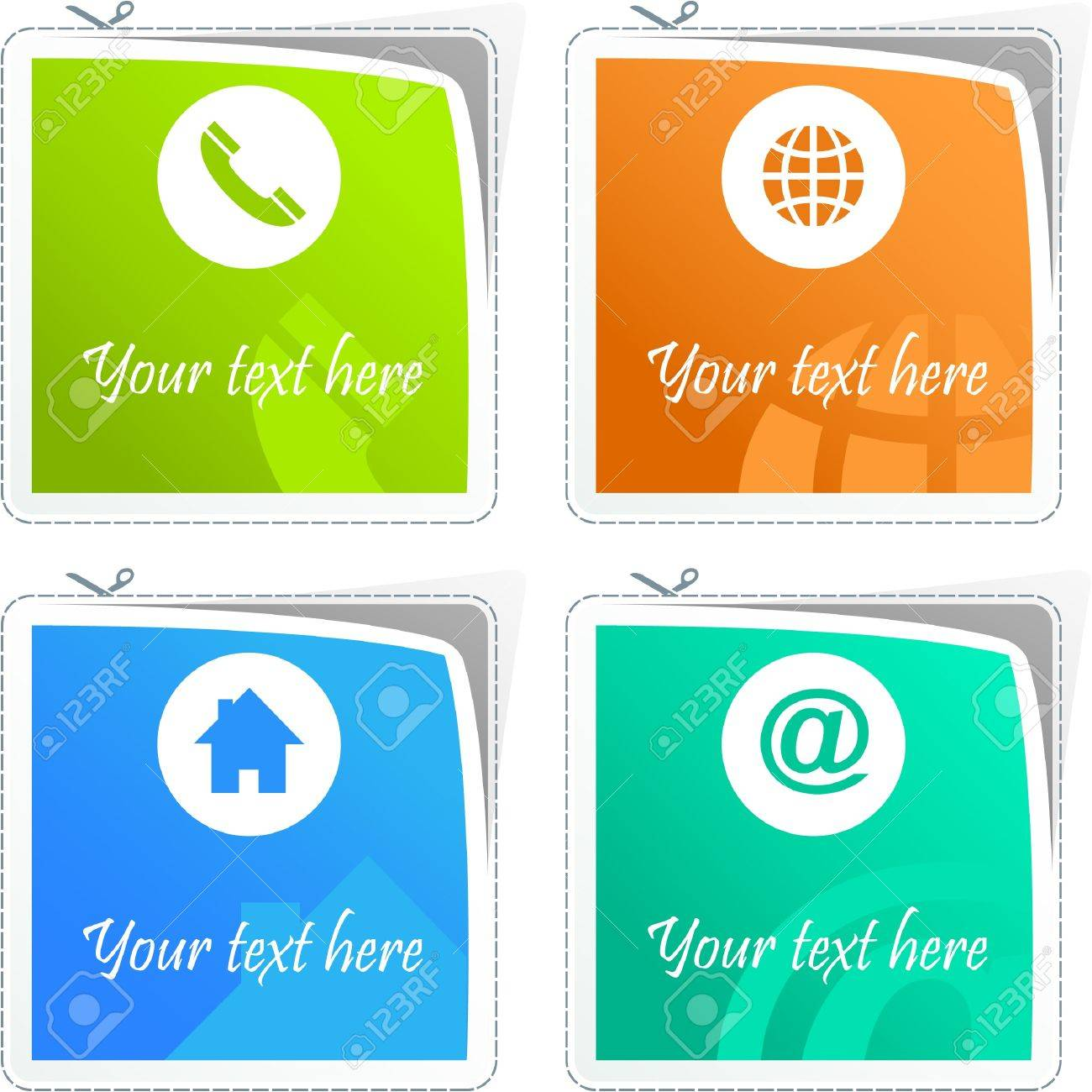 Home, phone, internet and email. Sticker set for site. Stock Vector - 9401613
