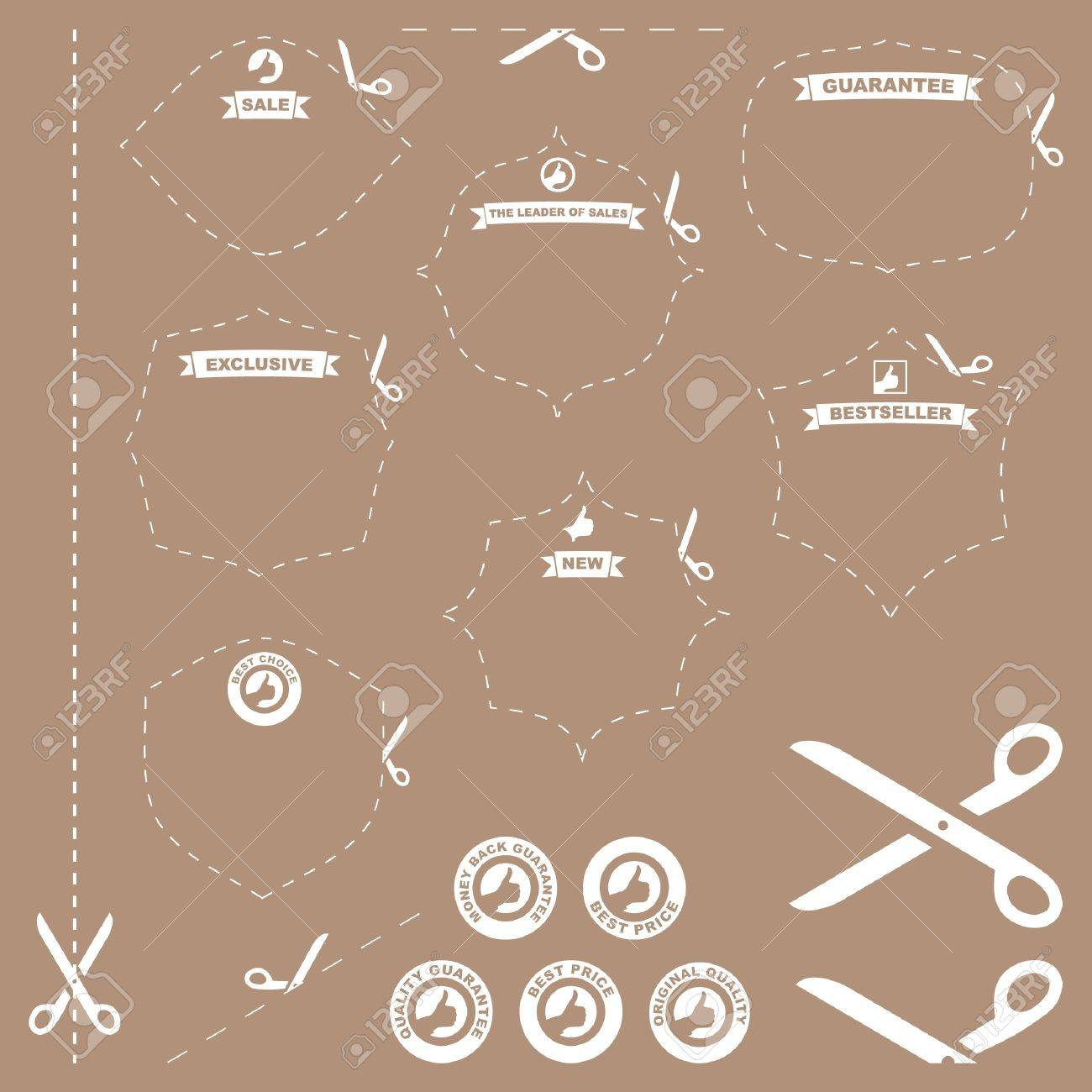 scissors with cut lines templates to choose form Stock Vector - 9401201