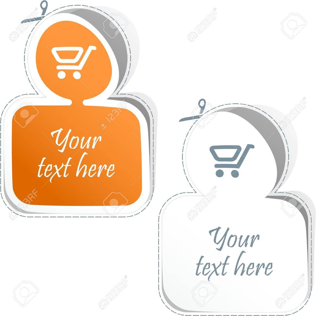 Shopping cart. Vector sticker set. Stock Vector - 8947620