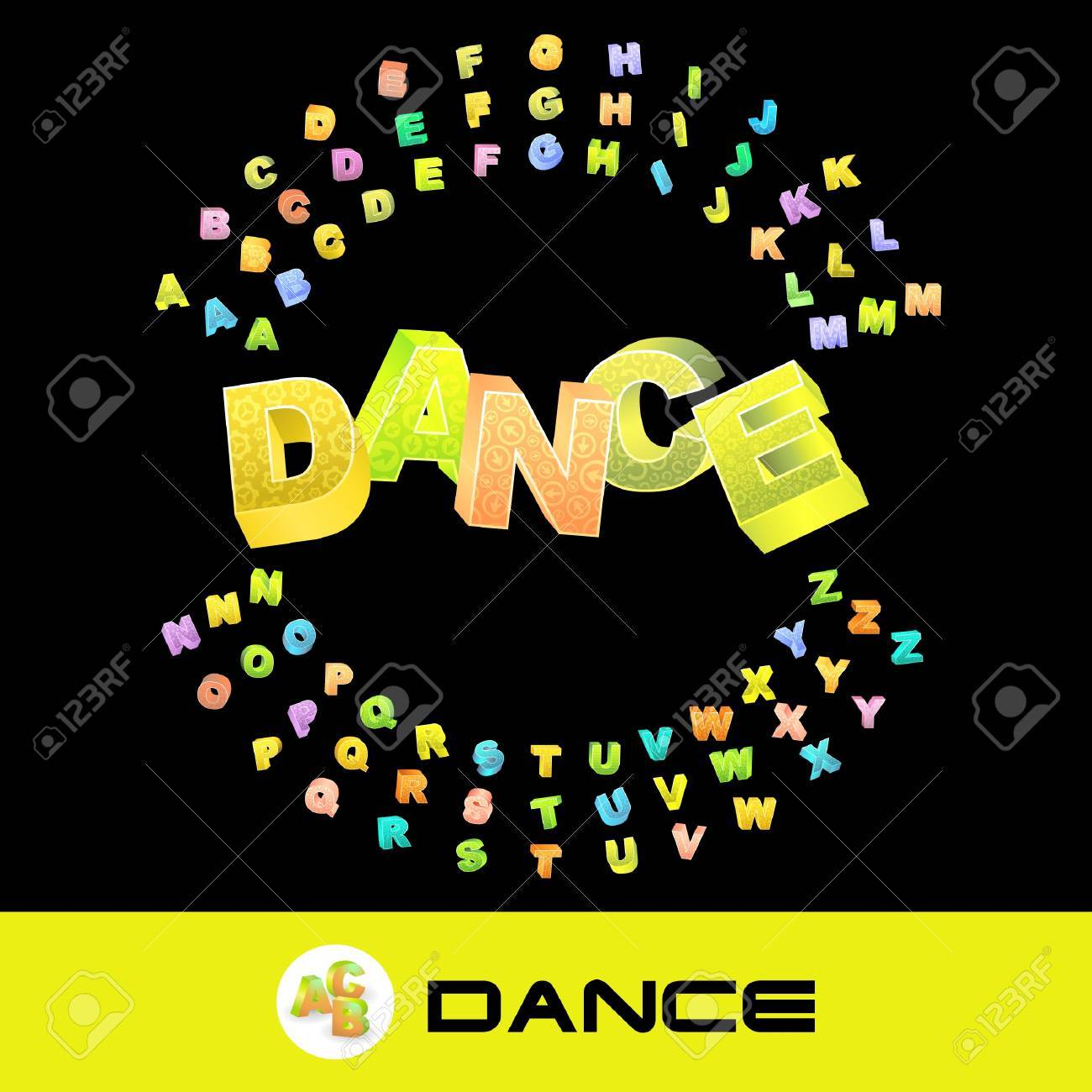 DANCE. Vector 3d illustration with colored alphabet. Stock Vector - 8947919