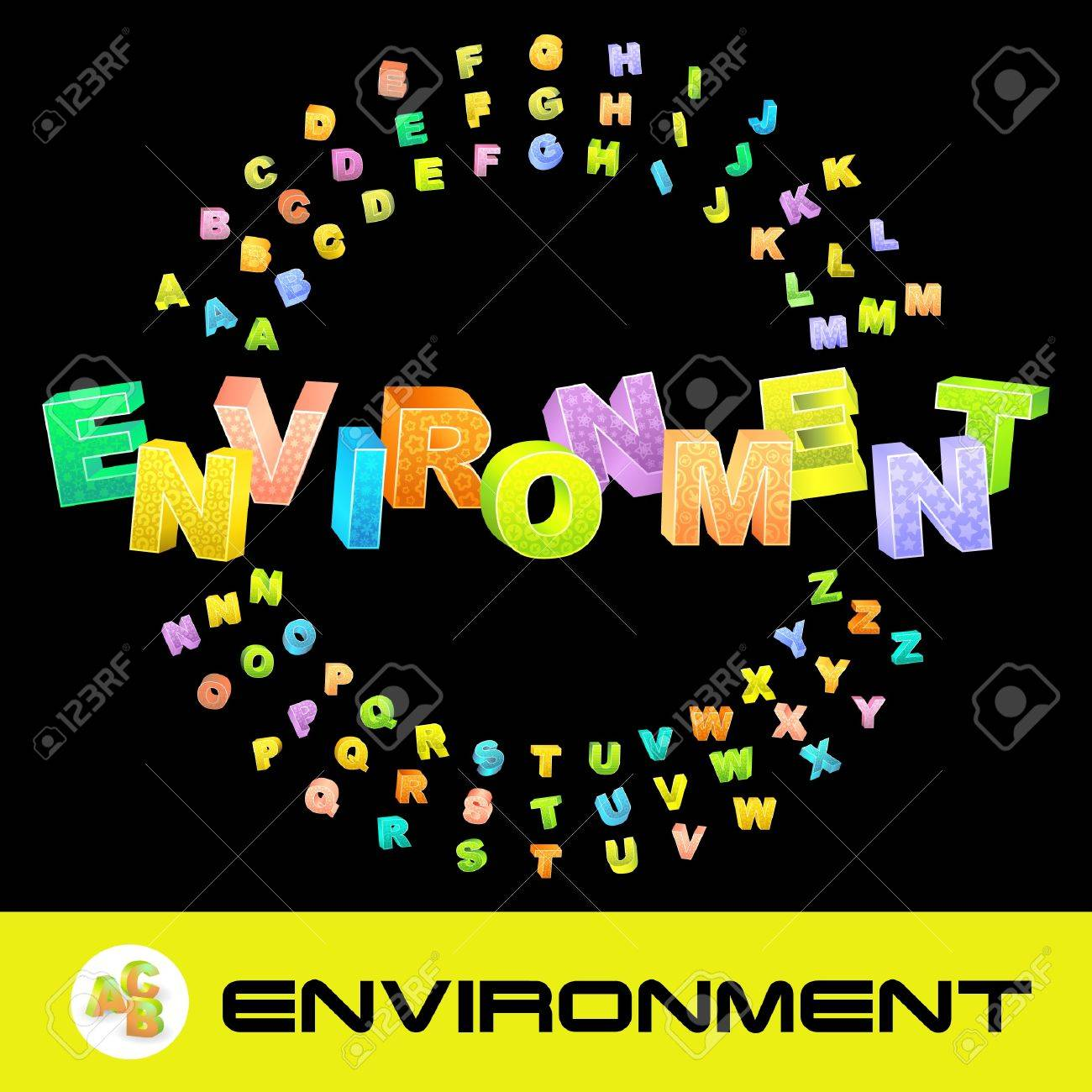 ENVIRONMENT. Vector 3d illustration with colored alphabet. Stock Vector - 8947934
