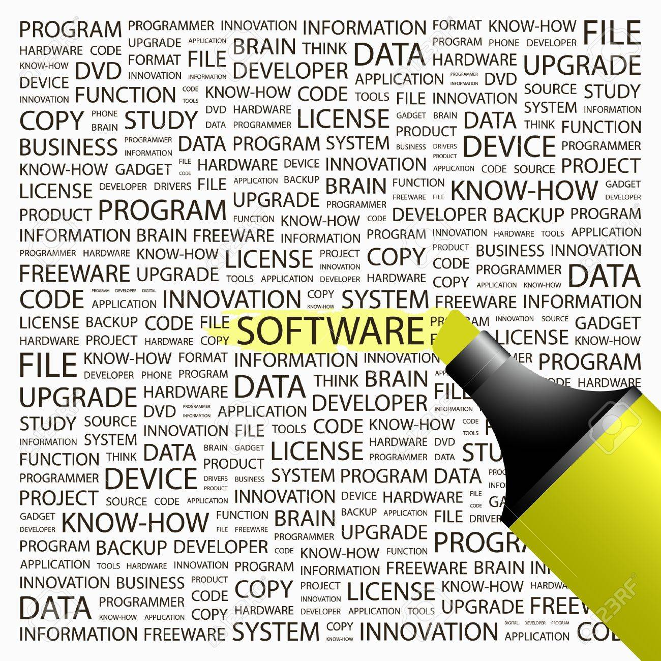 SOFTWARE. Highlighter over background with different association terms. Vector illustration. Stock Vector - 8947883