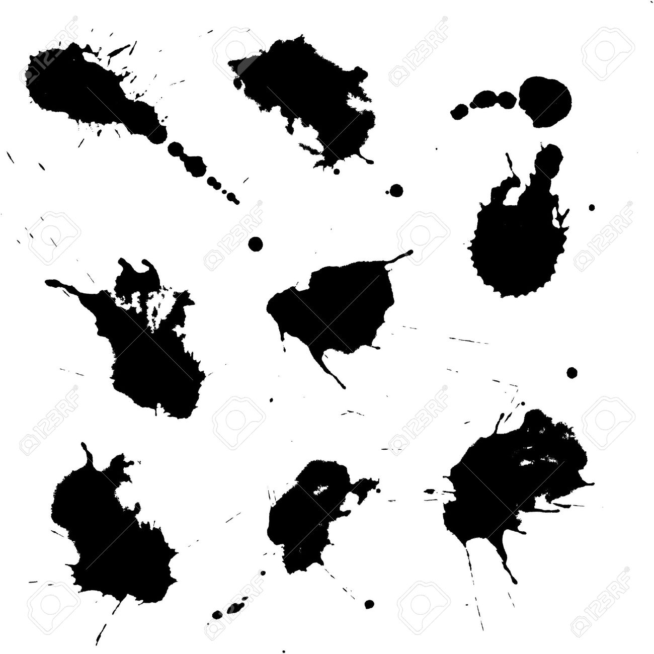 Set of black ink blots isolated on white Stock Vector - 8947827