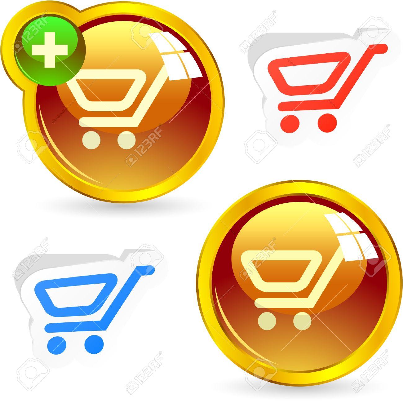 Shopping cart. Vector buttons. Stock Vector - 8947576